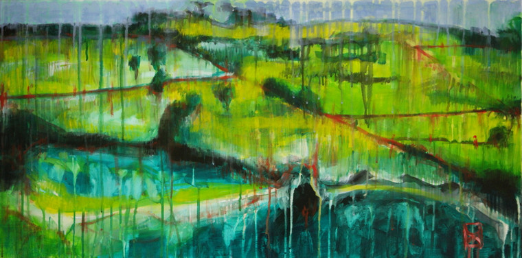 "Modern contemporary acrylic abstract landscape painting on canvas titled ""Country Life"" by David Calleja close up front photo."
