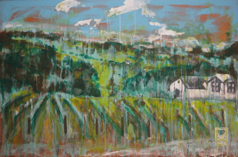 """Contemporary Mixed media landscape abstract painting titled """"Eldridge Estate"""" by David Calleja front close up photo."""