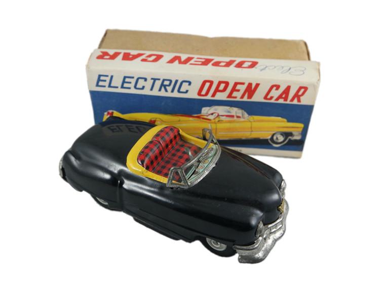 KKK Cadillac Eldorado open air electric tin toy car vintage 1950's Japan Mint Boxed front with box photo.