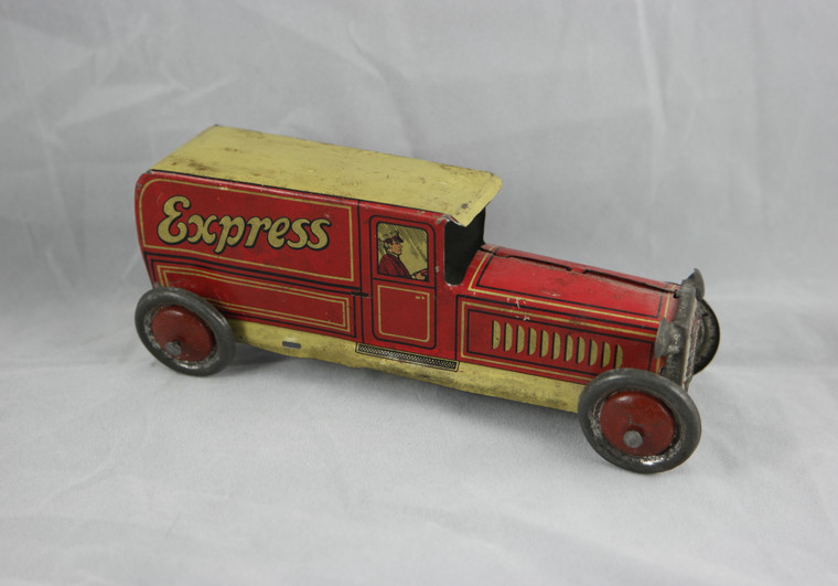 GELY by GEORG LEVY 169 Express tin penny toy truck van vintage 1920's German front photo.