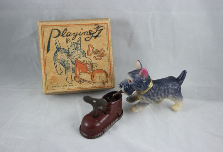SNK celluloid playing dog metal wind up toy vintage 1940's occupied Japan boxed front photo with box.