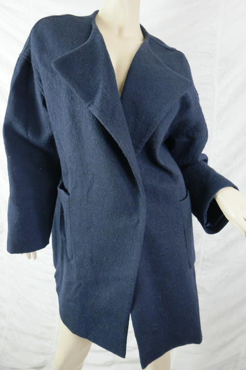 TRELISE COOPER navy blue 100% wool Wrapped Up collarless coat size XL EUC front view