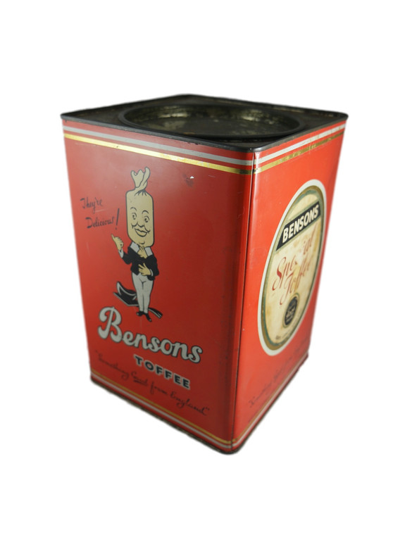 BENSON'S orange large 7lb Special Toffee toffee tin vintage 1960's England (special toffee toffee) side view