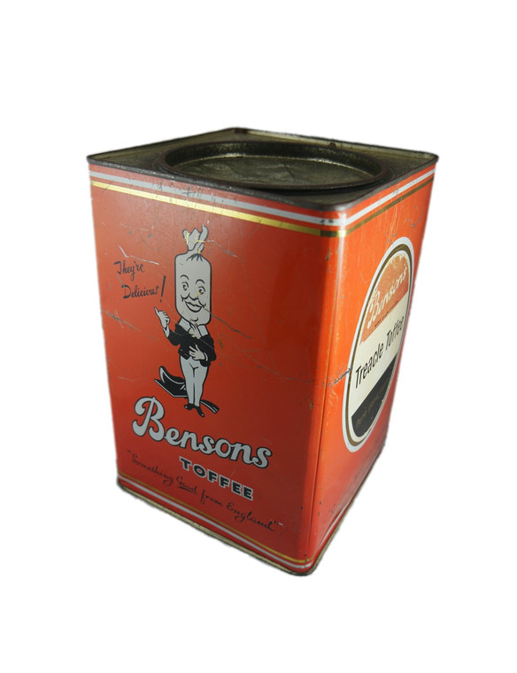 BENSON'S orange large 7lb Treacle Toffee toffee tin vintage 1960's England (treacle toffee toffee) front side view