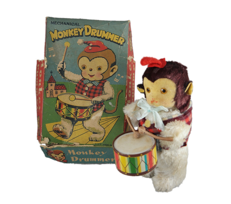 T. T. T. drummer monkey key wind up clockwork tin toy boxed vintage 1950's Japan front with box view