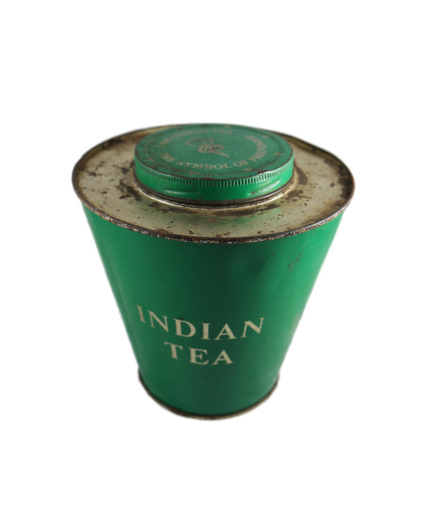 "THE SYMBOL OF FRIENDSHIP: I AM INDIAN TEA green 7"" tea tin vintage 1950's India front view"