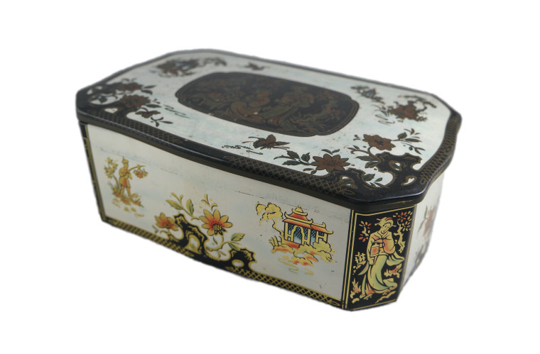 Oriental white black Geisha hinged rectangular toffee sweets tin vintage 1960's front side view