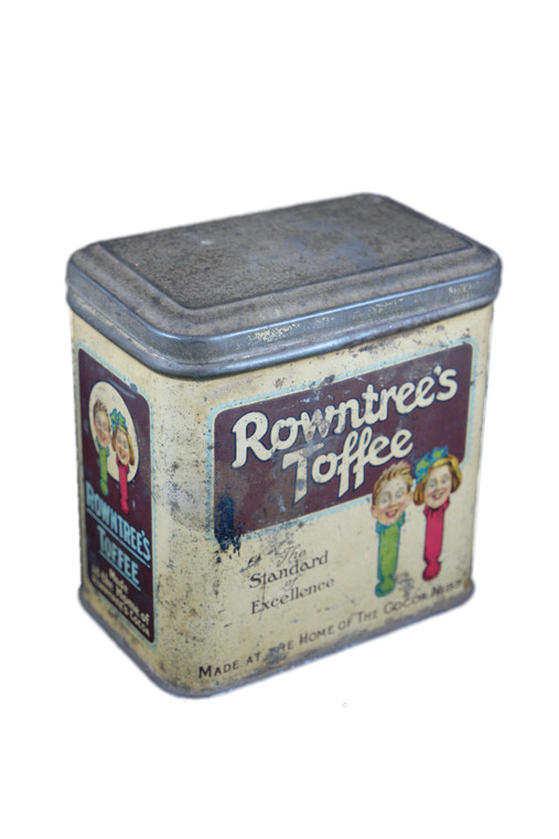 """ROWNTREE'S TOFFEE yellow red toffee 4"""" tin vintage 1930's England front side view"""