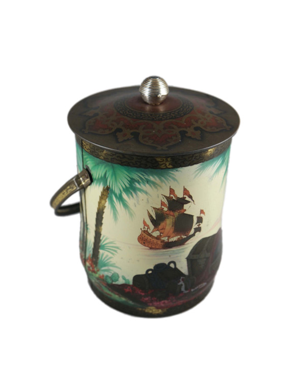 """BARET WARE green pirate ship treasure 7"""" biscuit tin vintage 1950's England front view"""