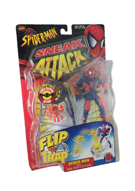 """TOYBIZ"" Marvel Comics ""Spiderman"" Sneak Attack 5"" figurine 1998 BNIB front side view"