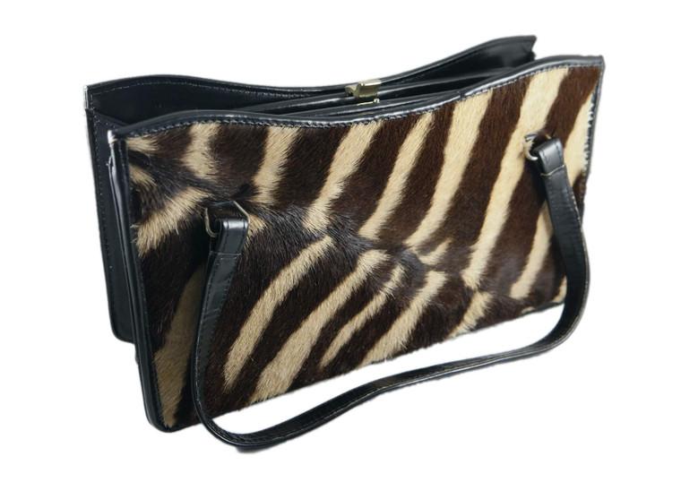 CORBEAU CURIO black 100% leather Zebra fur handbag vintage 1950's Africa As New front view