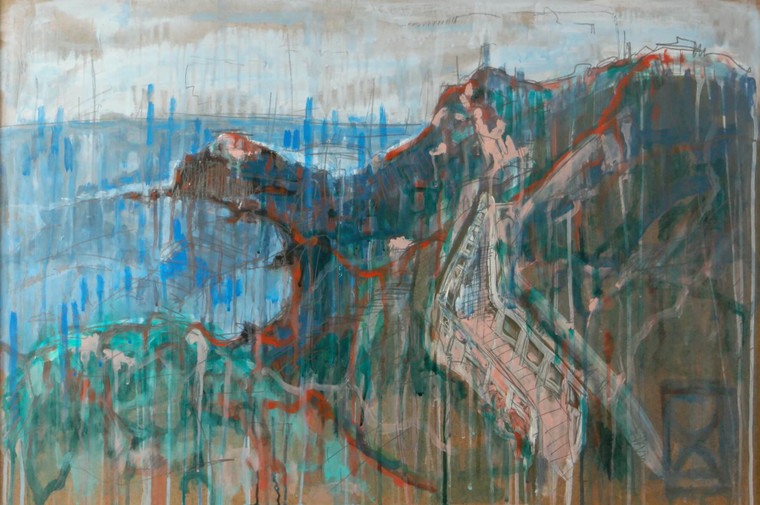 Contemporary Mixed media landscape abstract painting Stairway to Elysium David C close up front view