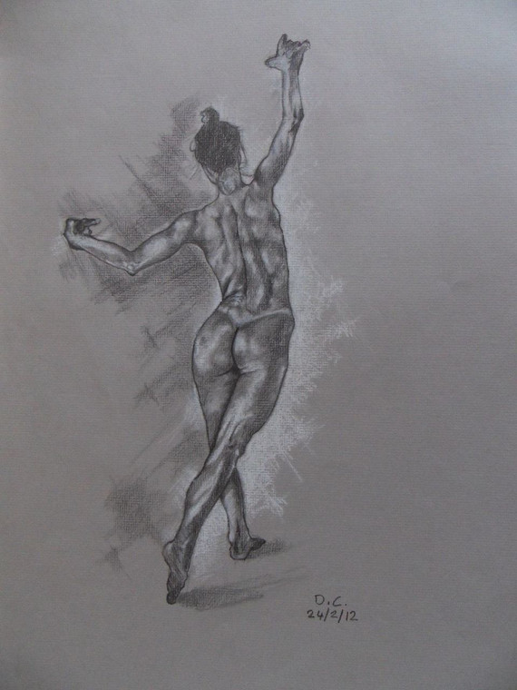 """Drawing in graphite pencil and white pastel """"Study of a dancing nude"""" by David C front photo."""