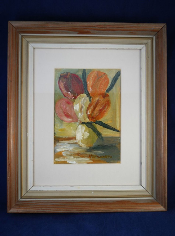Original Impressionistic style still-life oil painting of flowers by Hepworth