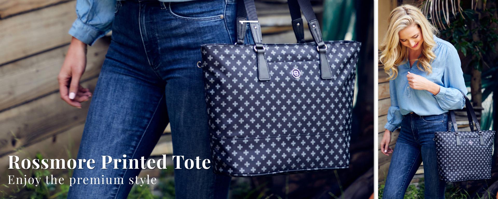 beside-u BNUA185-162 Rossmore Black Cross Printed Tote purses fashion handbags designer bags spring banner