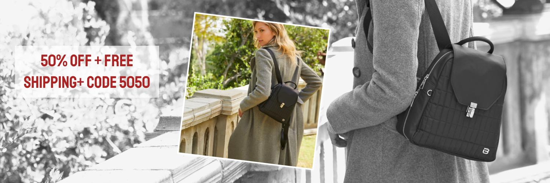 beside-u 50% off BEC005-100 Ronda Black backpack purses fashion handbags designer bags banner