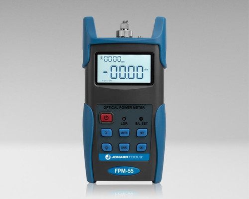 Jonard Fiber Optic Power Meter with Data Storage (-50 to +26 dBm) and FC/SC/LC Adapters - FPM-55