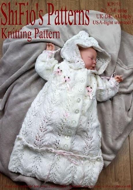 Knitted Hooded Sleeping Bag Pattern Knitting Patterns for Babies KP386 Baby Knitting Pattern 0-6 Months
