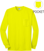 Safety Green Long Sleeve Pocket T Shirt Front