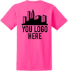 Safety Pink Short Sleeve T Shirt Back Custom Printed Logo