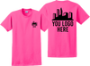 Safety Pink Short Sleeve T Shirt Front and Back Custom Printed Logo