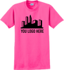 Safety Pink Short Sleeve T Shirt Full Front Custom Printed Logo