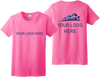 Ladies Safety Green Short Sleeve T Shirt Full Front and Back Custom Printed Logo