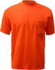 Safety Orange Pocket T Shirt 100% Polyester