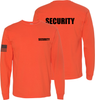 Bright Orange Long Sleeve Security T Shirt made in the USA.