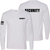 White Long Sleeve Security T Shirt made in the USA.