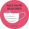 "Face Mask Required 8"" Round Decal Pink 