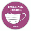 "Face Mask Required 8"" Round Decal Purple 