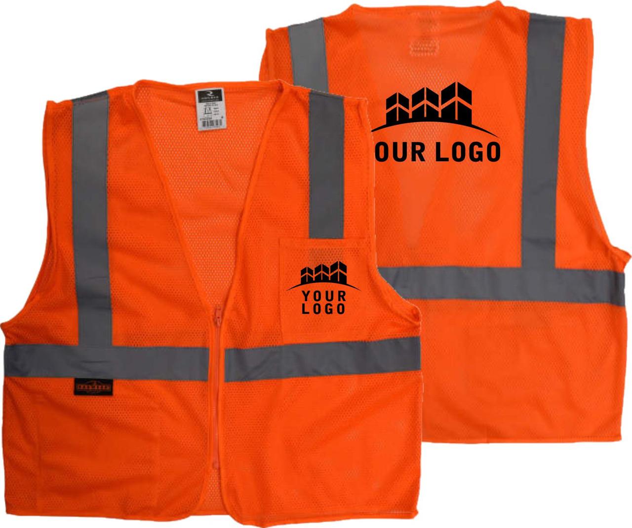 Custom Printed Safety Vest   Safety Vest with Logo   Class 2 Safety Vest with Custom Logo