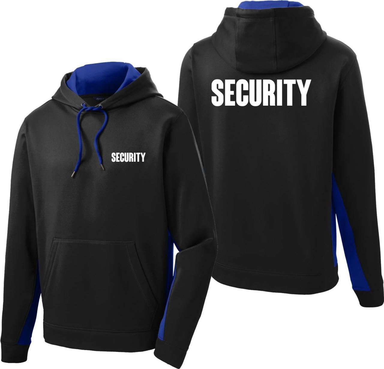 Royal Blue and Black Security Hoodie   Performance Colorblock Fleece Security Hoodie