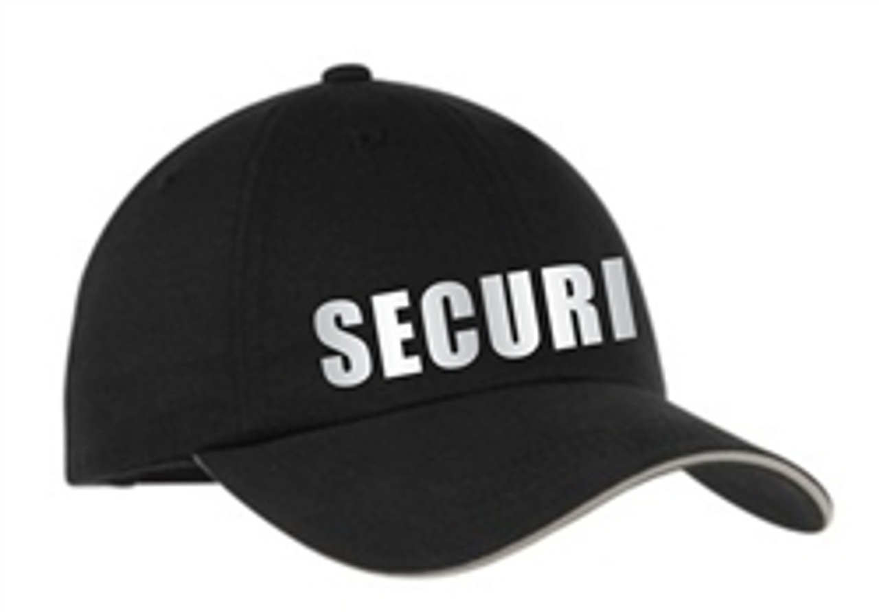 Black Reflective Security Cap     Security Guard Reflective Sandwich Bill Cap   Security Guard Hat   Security Uniform Hat