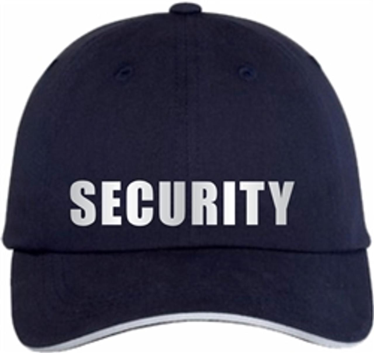 Navy Reflective Security Hat     Security Guard Reflective Sandwich Bill Cap   Security Guard Hat   Security Uniform Hat