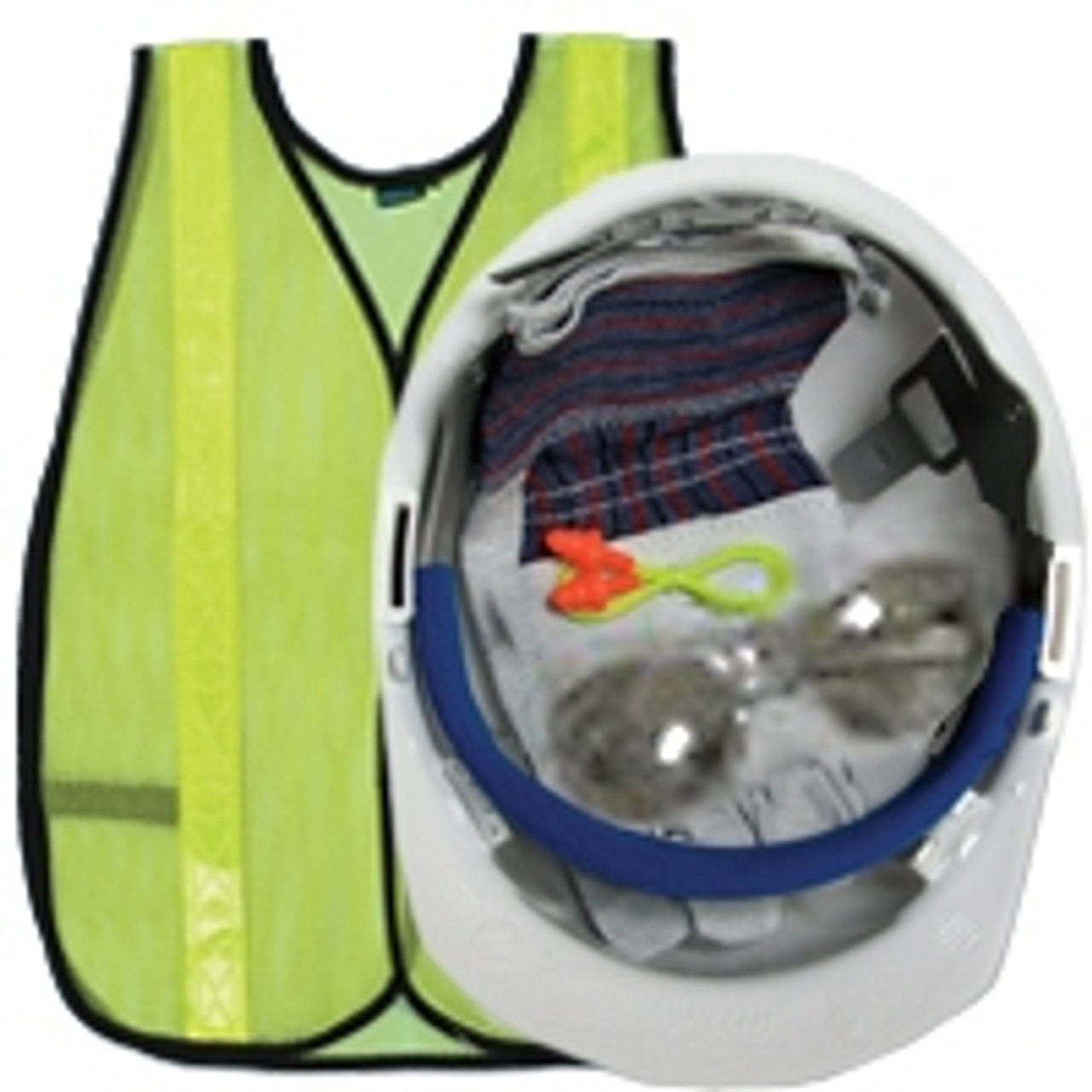 New Hire Kit with White Hard Hat / Lime Vest S18R - ERB 18526