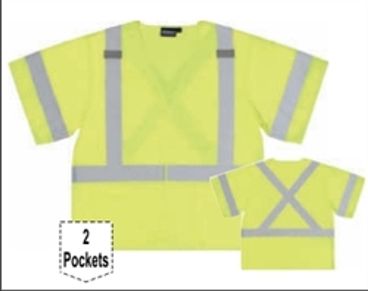 X Back Hi-Vis Lime Safety Vest ANSI Class 3 - ERB S549