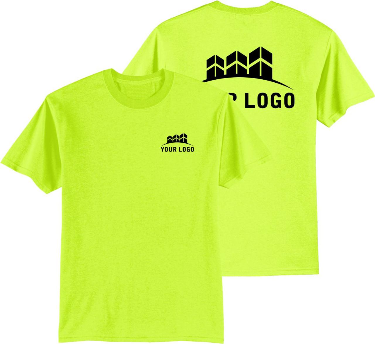 Safety Green Shirt with Logo | Custom High Visibility T-Shirt | Custom Construction Safety Shirt