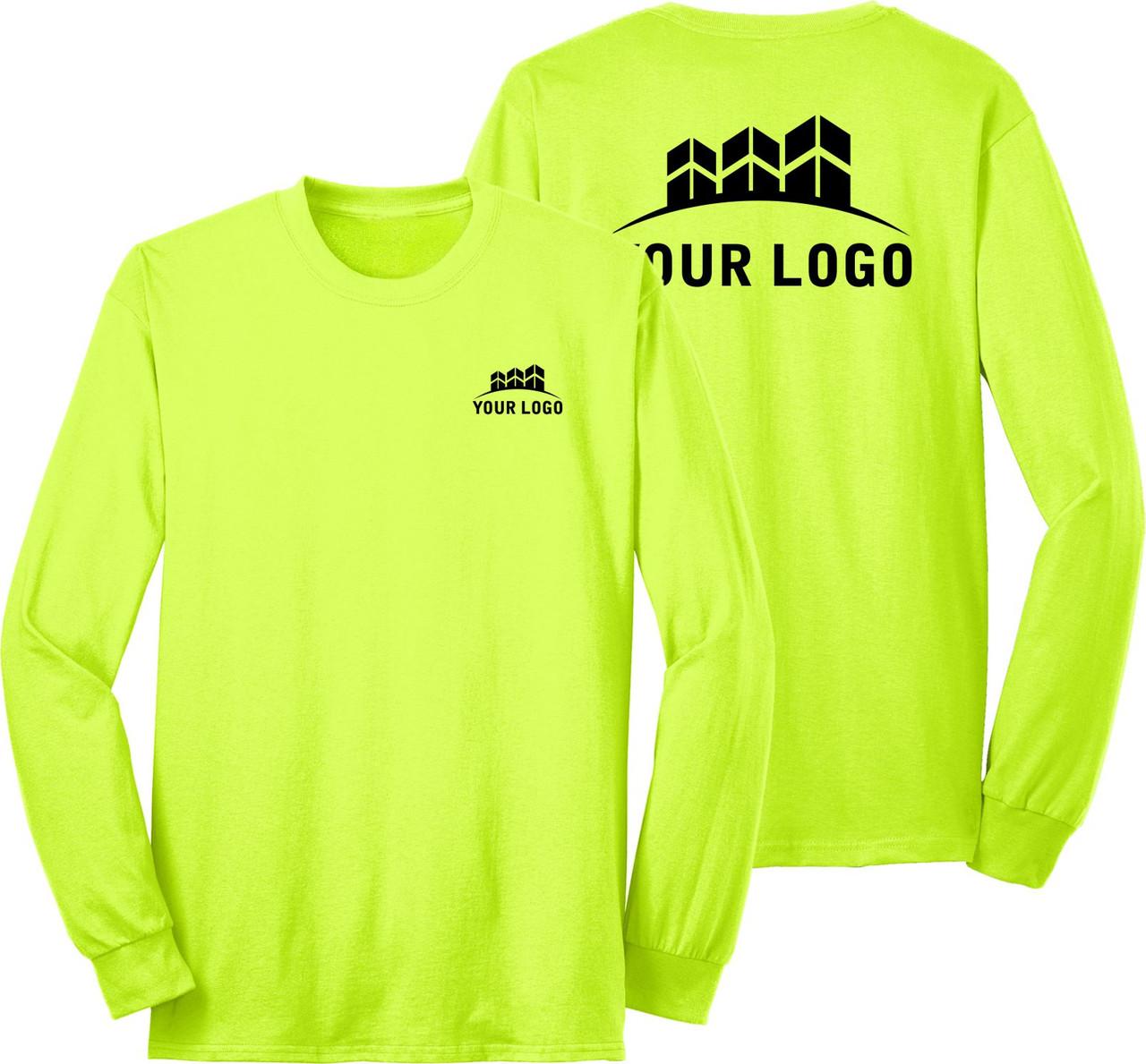 Safety Green Lonh Sleeve Shirt with Logo | Custom High Visibility Long Sleeve T-Shirt | Custom Construction Safety Shirt
