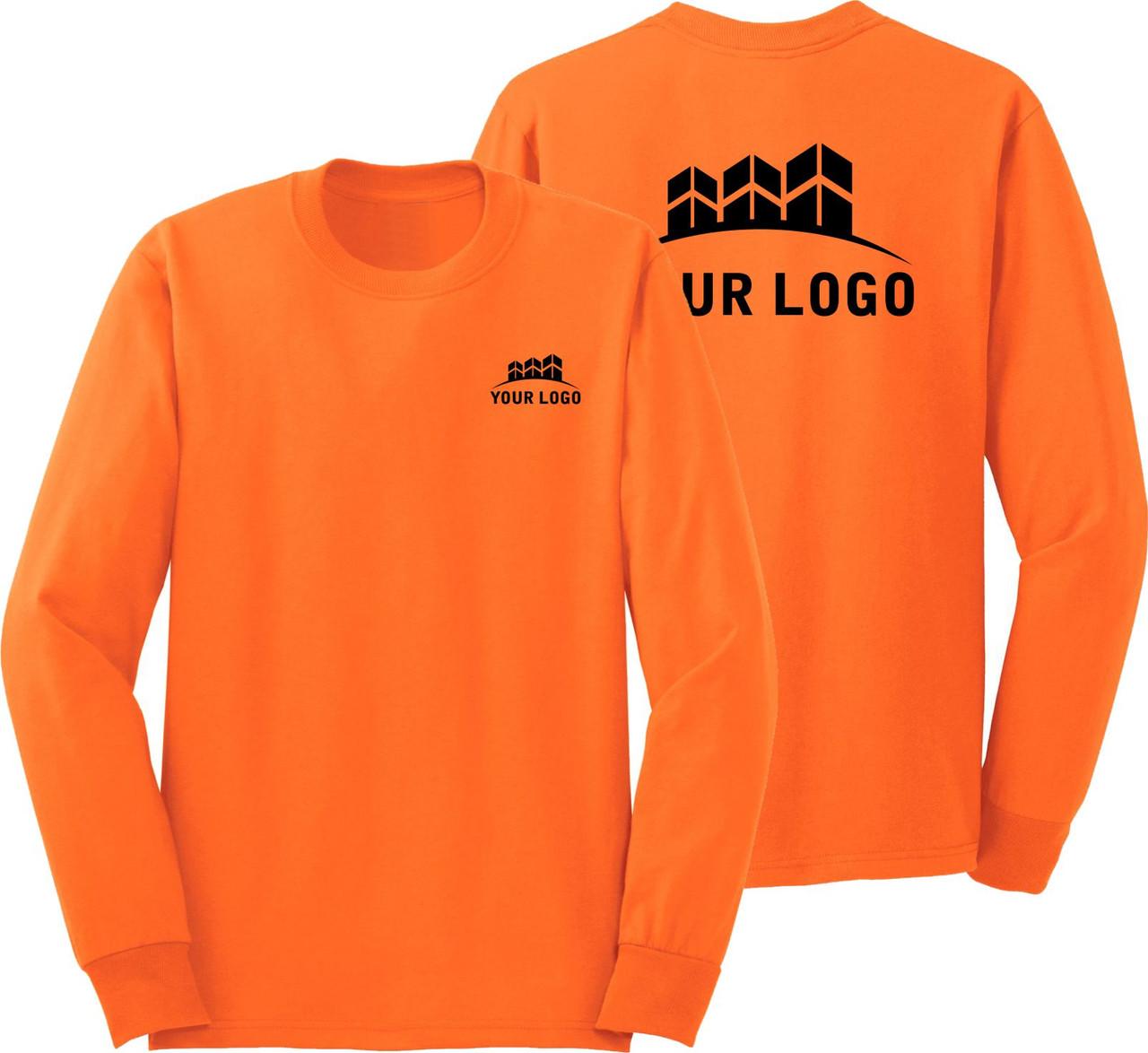 Long Sleeve Safety Orange Shirt with Logo | Custom High Visibility T-Shirt | Custom Long Seeve Construction Safety Shirt