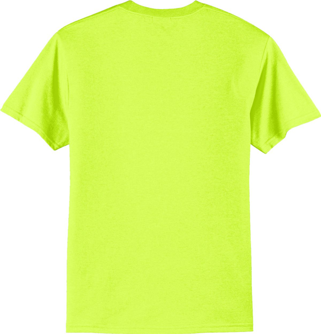 Safety Green Short Sleeve Pocket T Shirt Back