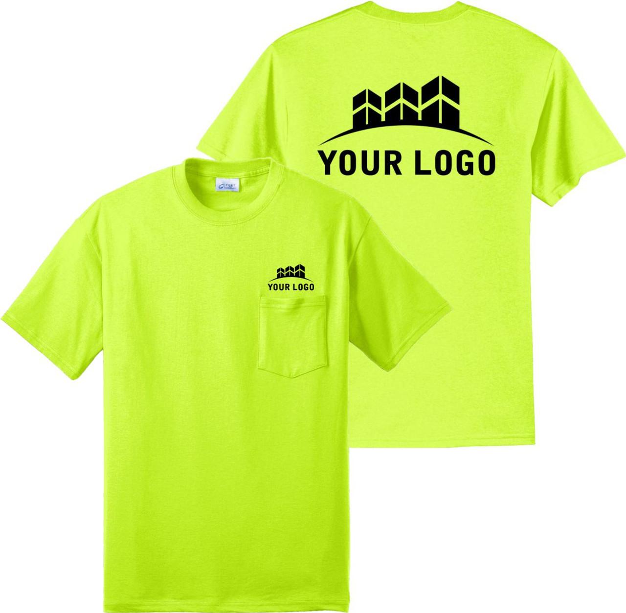 Safety Green Short Sleeve Pocket T Shirt front and back custom printed logo