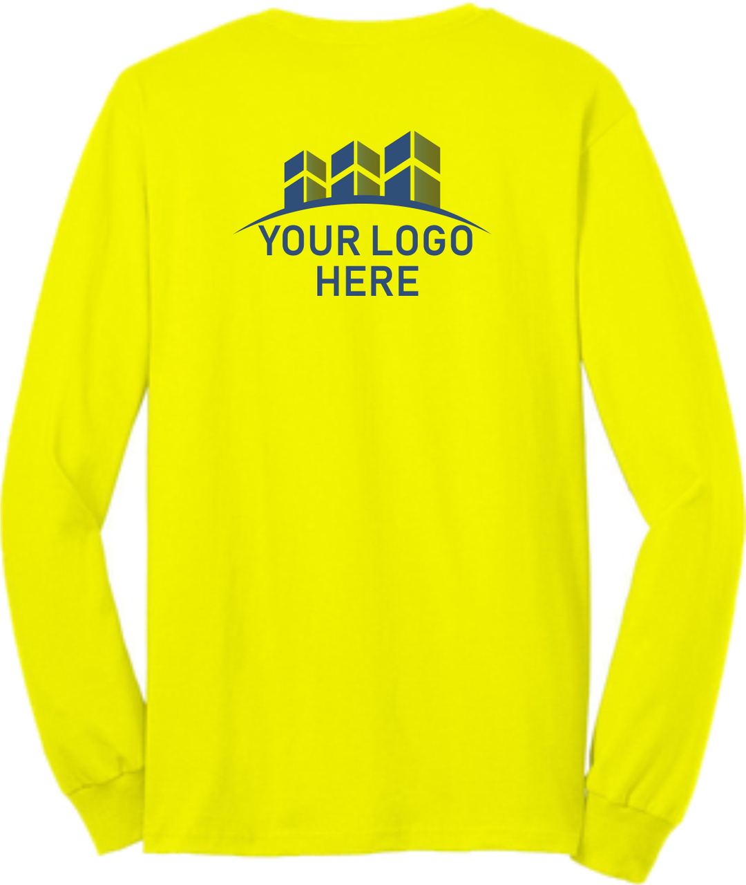 Safety Green Long Sleeve T Shirt Back  - Custom Printed Logo