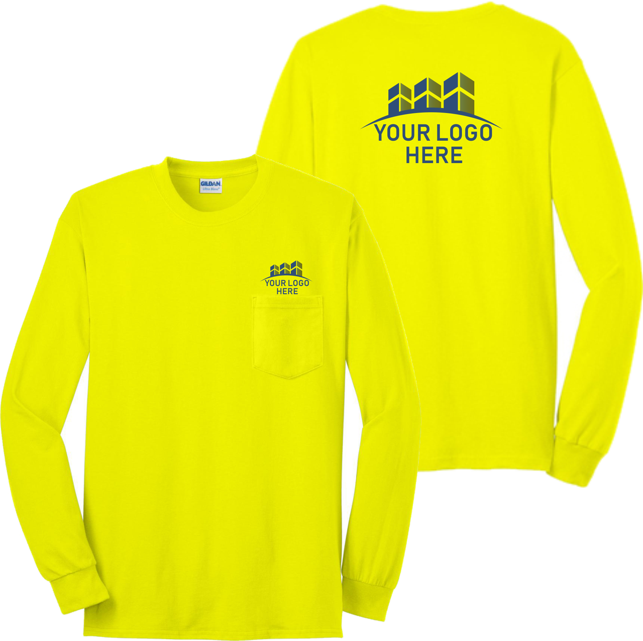 Safety Green Long Sleeve Pocket TShirt with Custom Printed Logo. Construction TShirt.