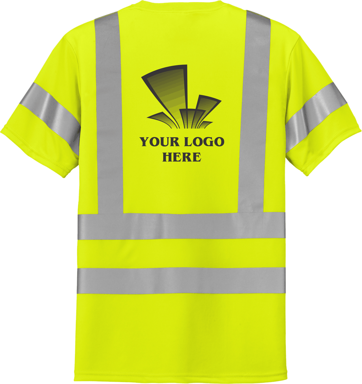 Safety Yellow Class 3 T-Shirt with Pocket Custom Printed ANSI/SEA 107 Class 3 Certified