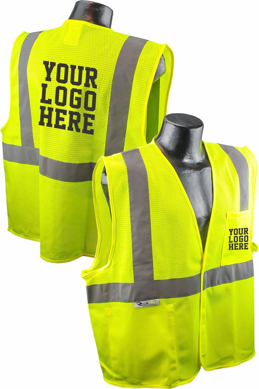 SV2 Safety Vest Safety Green Custom Printed