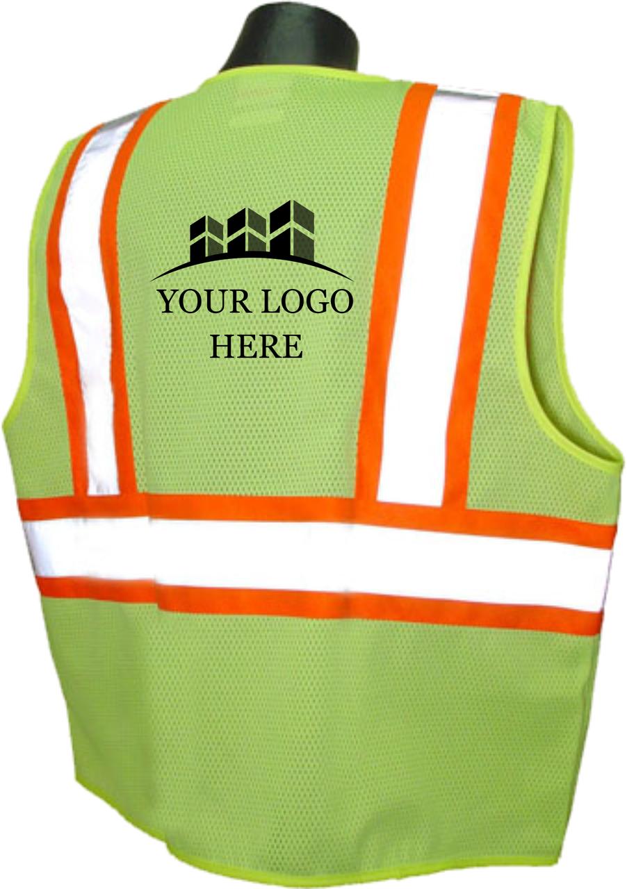 SV22-2 Safety Vest Class 2 Two Tone Safety Green  Back Custom Printed Safety Vest