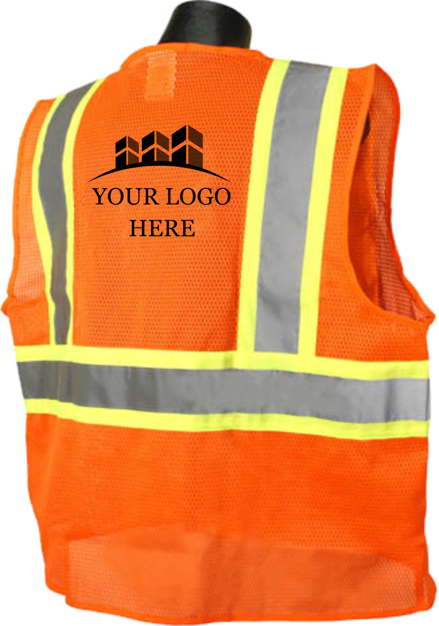 SV22-2 Safety Vest Class 2 Two Tone Safety Orange Back Custom Printed Logo