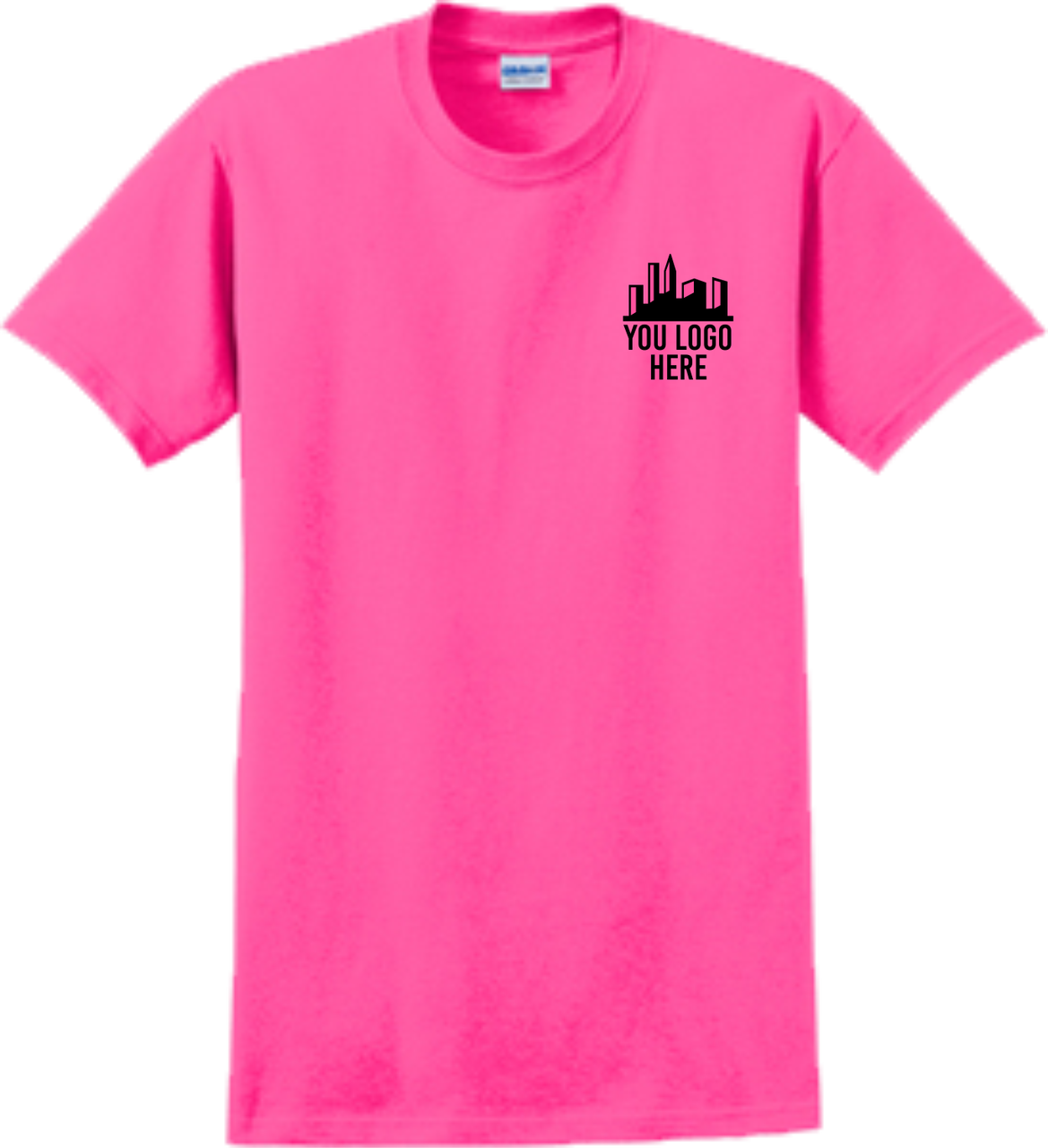 Safety Pink Short Sleeve T Shirt Front Custom Printed Logo